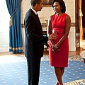 President And Michelle Obama Talk Poster by Everett