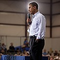 President Barack Obama At A Town Hall Poster by Everett