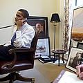 President Barack Obama Takes A Phone Poster by Everett
