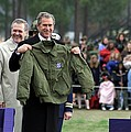 President Bush Displays A Jacket Given Poster by Everett