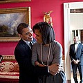 President Obama Hugs First Lady Print by Everett