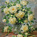 Princess Diana Roses in a Cut Glass Vase Print by Albert Williams