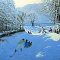 Pushing the Sledge Print by Andrew Macara
