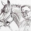 Race horse and owner Print by Nancy Degan