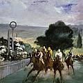 Races at Longchamp Print by Edouard Manet