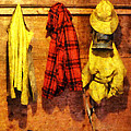 Rain Gear and Red Plaid Jacket Poster by Susan Savad