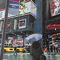 Rainy Day in Times Square Poster by Patti Mollica