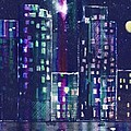 Rainy Night In The City Poster by Arline Wagner