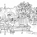 Reading in the Luxembourg Gardens Print by Marilyn MacGregor