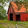 Red Barn with Orange Roof 1 Print by Douglas Barnett