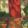Red Door - Shadow and Light Print by Diane McClary