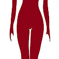 Red Female Silhouette Print by Frank Tschakert