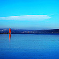 Red lighthouse in Cayuga Lake New York Print by Paul Ge