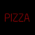 Red Neon Pizza Sign Print by David Buffington