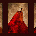 Red Pear Triptych Poster by Carol Leigh