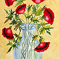 Red Poppies in a Vase Poster by Kimberlee Weisker