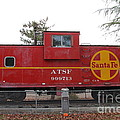 Red Sante Fe Caboose Train . 7D10328 Print by Wingsdomain Art and Photography