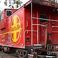 Red Sante Fe Caboose Train . 7D10332 Poster by Wingsdomain Art and Photography