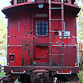 Red Sante Fe Caboose Train . 7D10476 Poster by Wingsdomain Art and Photography