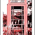 Red Telephone Booth in a Field in Maine Print by Kara Ray