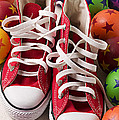 Red tennis shoes and balls Poster by Garry Gay