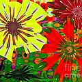red yellow flowers Poster by Navo Art