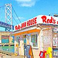 Reds Java House and The Bay Bridge at San Francisco Embarcadero Poster by Wingsdomain Art and Photography