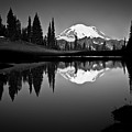 Reflection Of Mount Rainer In Calm Lake Print by Bill Hinton Photography