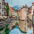 Reflections Of Annecy Print by Charlotte Blanchard