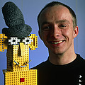 Researcher With His Happy Emotional Lego Robot Print by Volker Steger