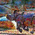 Rhino on the Run Print by Marilyn Sholin