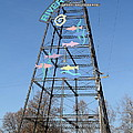 River Walk Tower Sign in West Sacramento California . 7D11400 Print by Wingsdomain Art and Photography