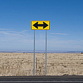 Road Sign in the Desert Print by Dave & Les Jacobs