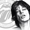 Rolling Stones Mick Jagger Drawing Print by Lee Appleby