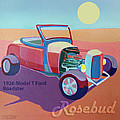 Rosebud Model T Roadster Print by Evie Cook