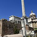 Rostra. Column of Phocas and Septimius Severus arch in the Roman Forum. Rome Poster by BERNARD JAUBERT