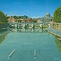 Rowing on the Tiber Rome Poster by Richard Harpum