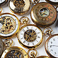 Rows Of Pocket Watches Print by Garry Gay