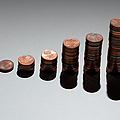 Rows Of Stacks Of Five Cent Euro Coins Increasing In Size Poster by Larry Washburn