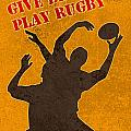 rugby player jumping catching ball in lineout Print by Aloysius Patrimonio