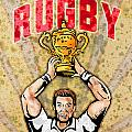 rugby player raising championship world cup trophy Poster by Aloysius Patrimonio