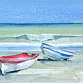 Sabinillas Fishing Boats Print by Stephanie Aarons