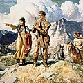Sacagawea with Lewis and Clark during their expedition of 1804-06 Poster by Newell Convers Wyeth