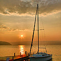Sailboat and Sunrise Poster by Steven Ainsworth