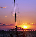 Sailboat and the Bridge at Sunrise Poster by Vicki Jauron
