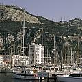 Sailboats Moored In Gibraltar Bay Poster by Lynn Abercrombie