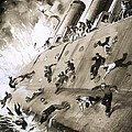Sailors Escaping HMS Natal which Caught Fire in Cromerty Firth in 1915 Print by English School