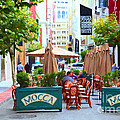 San Francisco - Maiden Lane - Outdoor Lunch at Mocca Cafe - 5D17932 - Painterly Poster by Wingsdomain Art and Photography