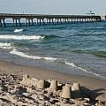 SAND CASTLES AND PIERS Print by ROB HANS