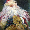 SANTA CLAUS Riding Up Front with the Big Guy  Poster by Shelley Schoenherr